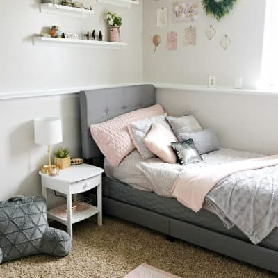 How To DIY a Blush and Gray Girls Bedroom Makeover