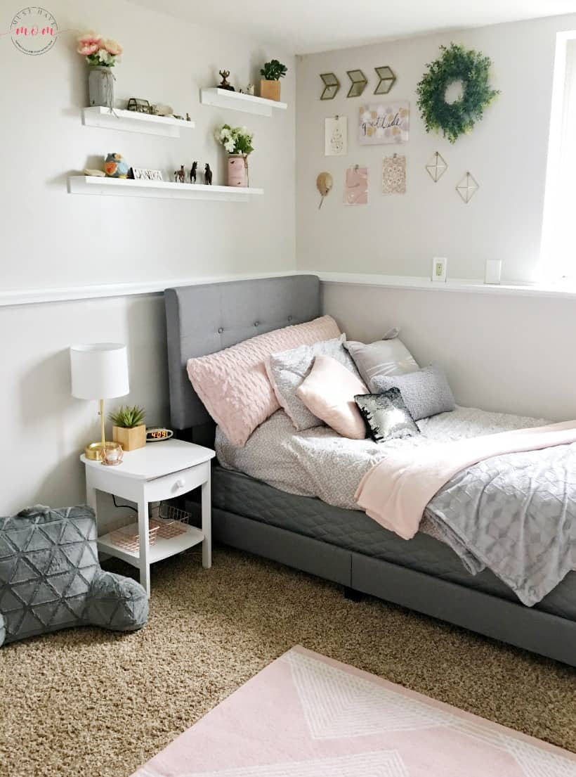 How To DIY a Blush and Gray Girls Bedroom Makeover - Must Have Mom