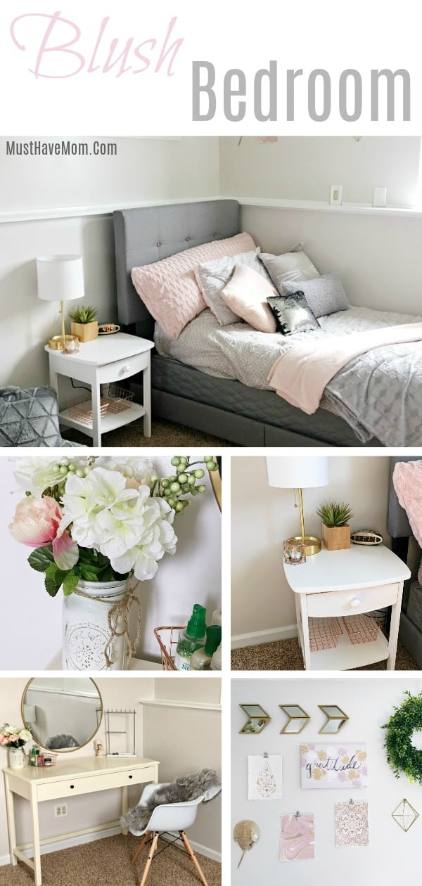 Pink and grey bedroom ideas for a teen girly bedroom / blush bedroom
