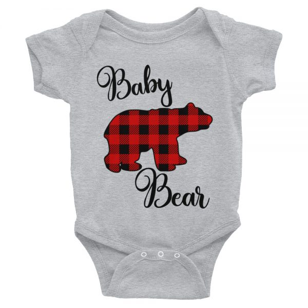 buffalo check baby bear onesie