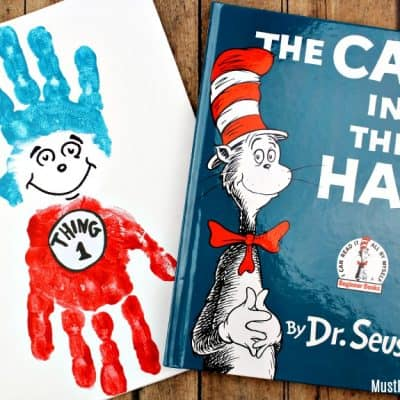 Dr Seuss Crafts: Thing 1 and Thing 2 Handprint Painting