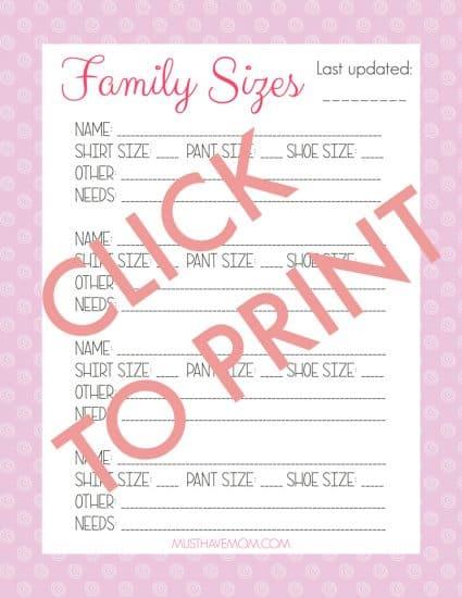 Free printable family sizes list