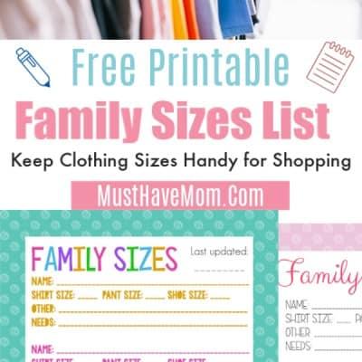Free Printable Family Clothing Sizes List