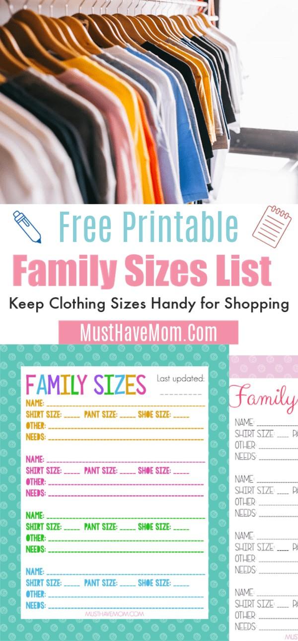 family clothing list printable