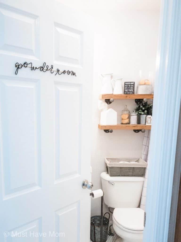 bathroom powder room sign