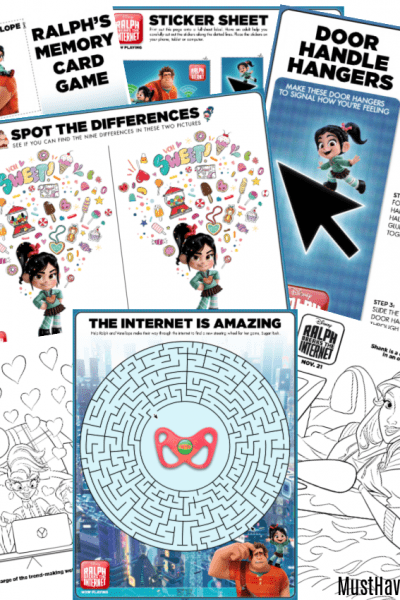 Free printable ralph breaks the internet activity pages
