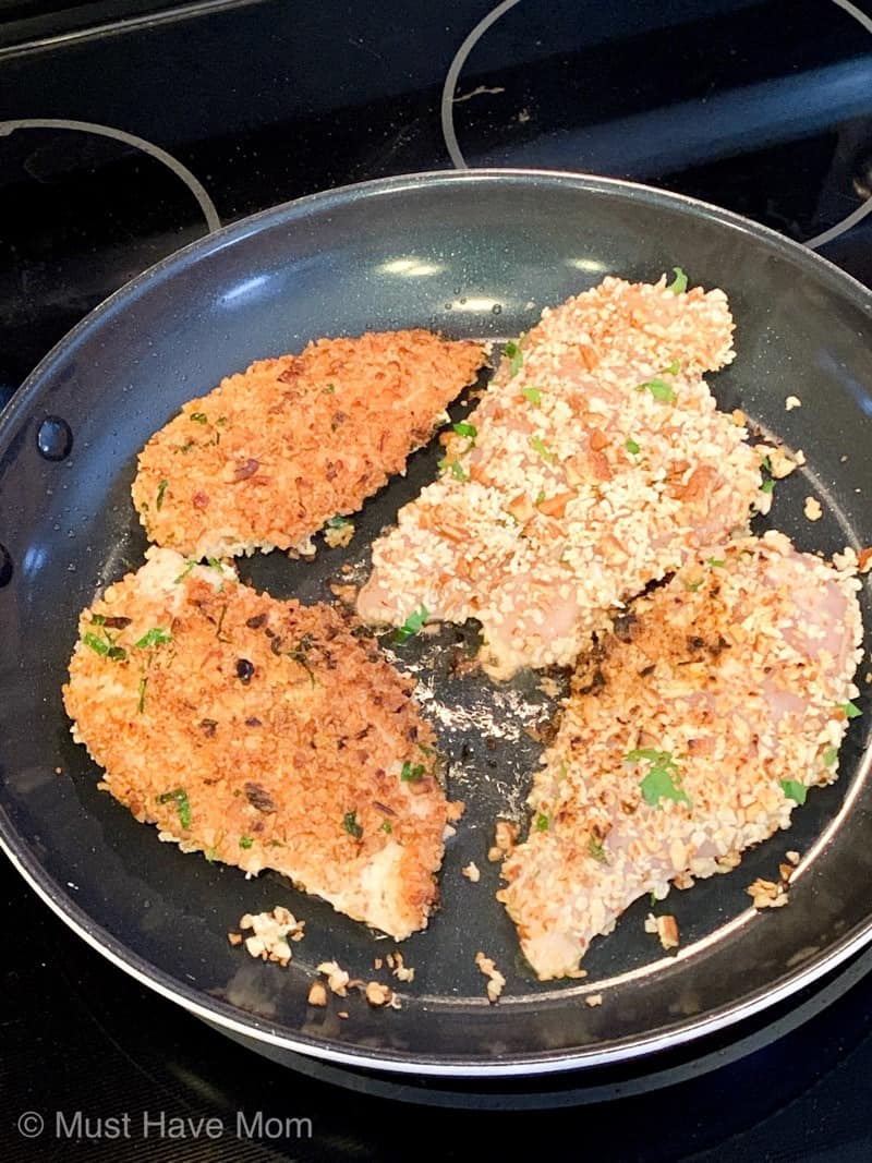 frying pecan crusted chicken