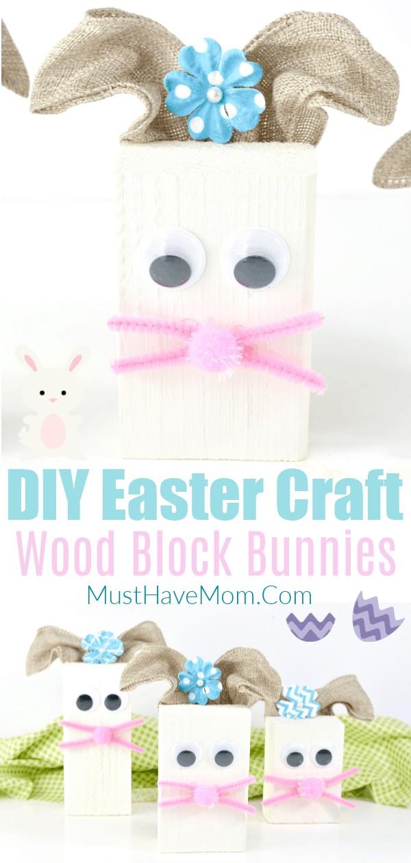 diy wood block bunny craft