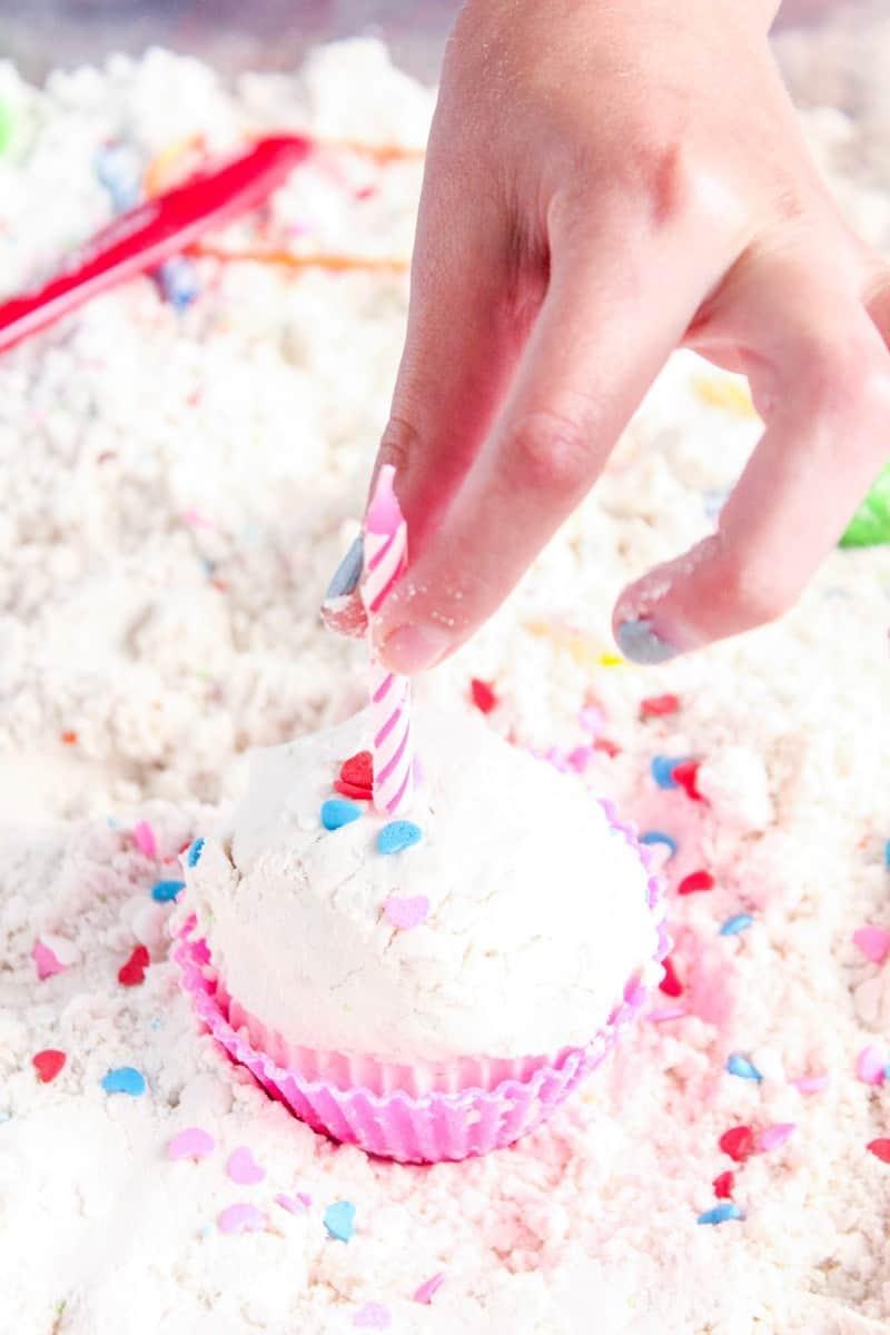 cupcake sensory bin
