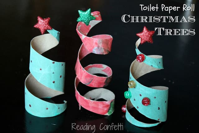 toilet paper roll xmas trees