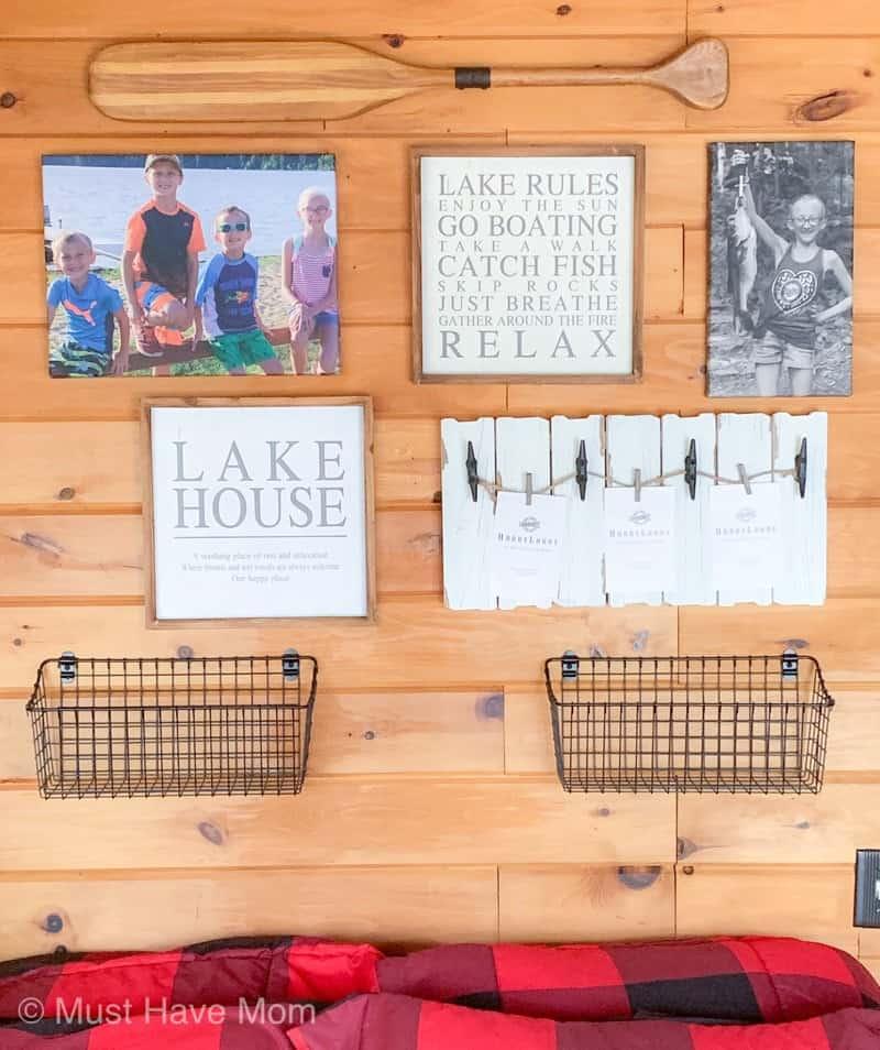 cabin bedroom gallery wall