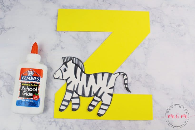 glue the zebra to the letter z