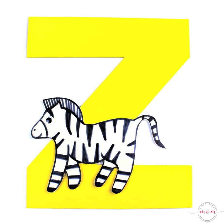letter Z is for Zebra foam letter craft