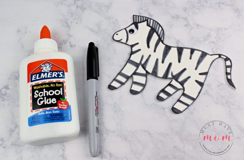 draw zebra on craft foam