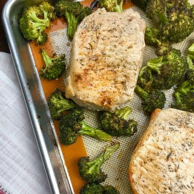Sheet Pan Pork Chops with Garlic Broccoli