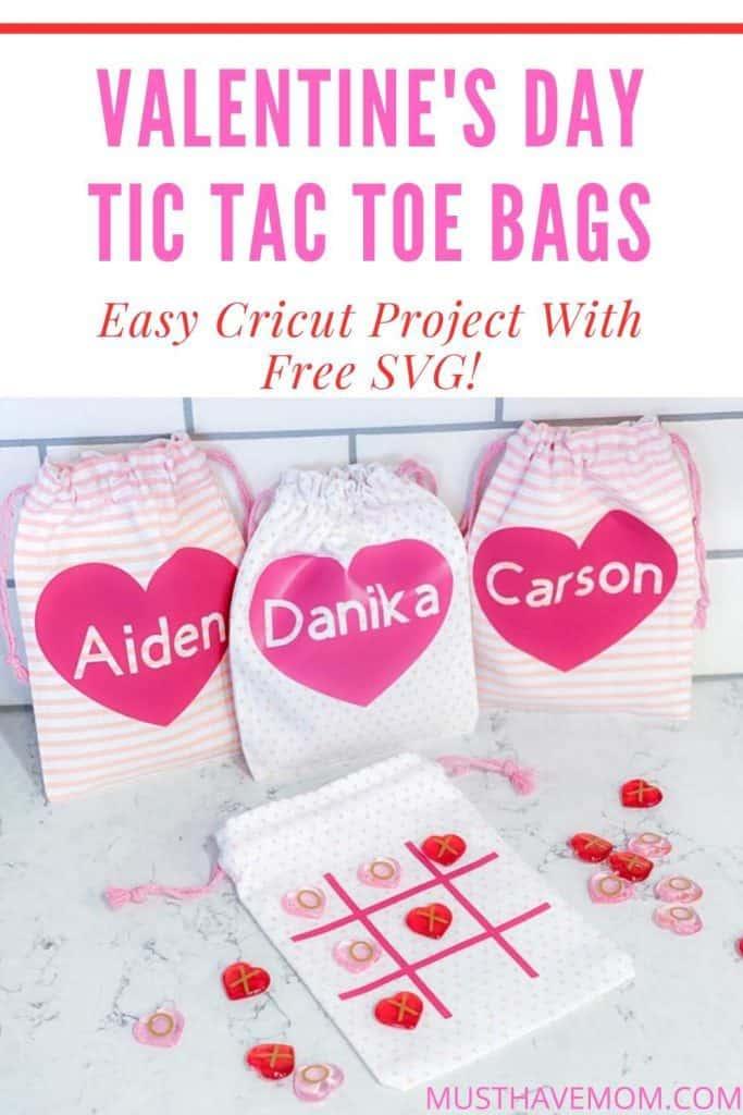 Easy Cricut Project tic tac toe bags