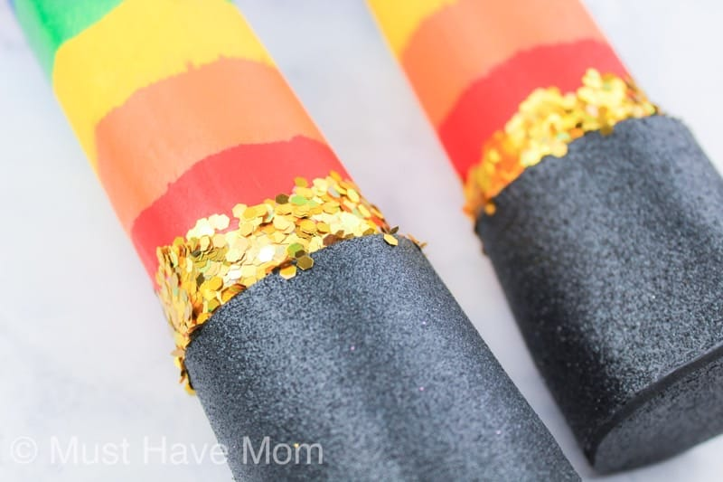 add gold glitter to rainbow rain stick