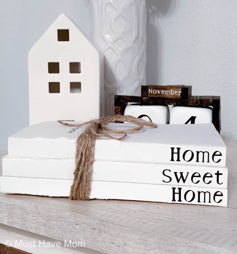 DIY stacked books decor