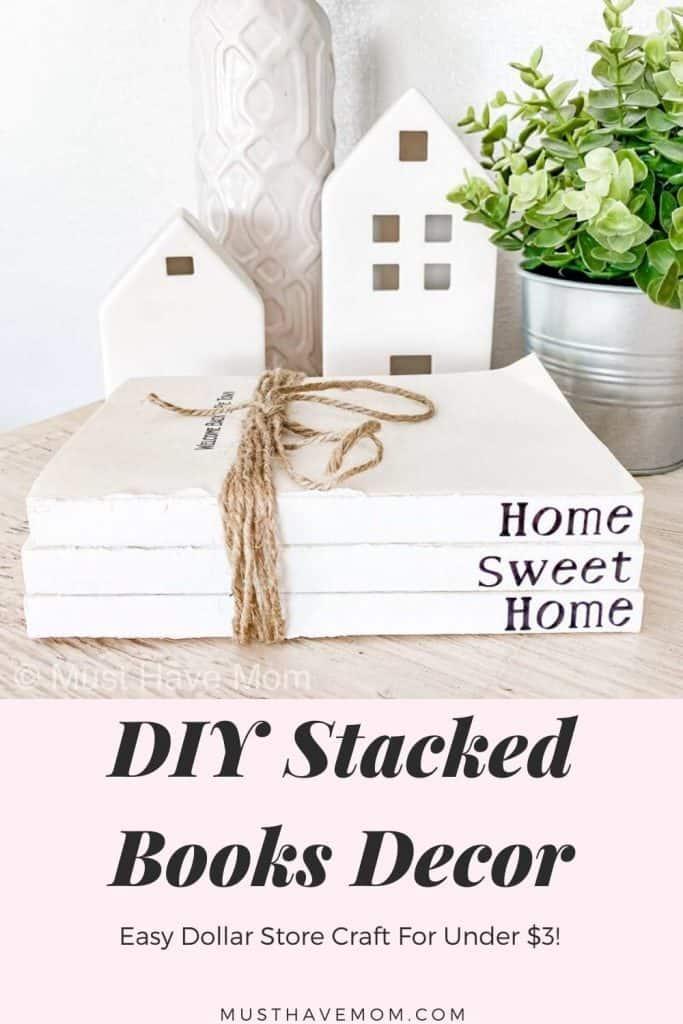 DIY book stack decor