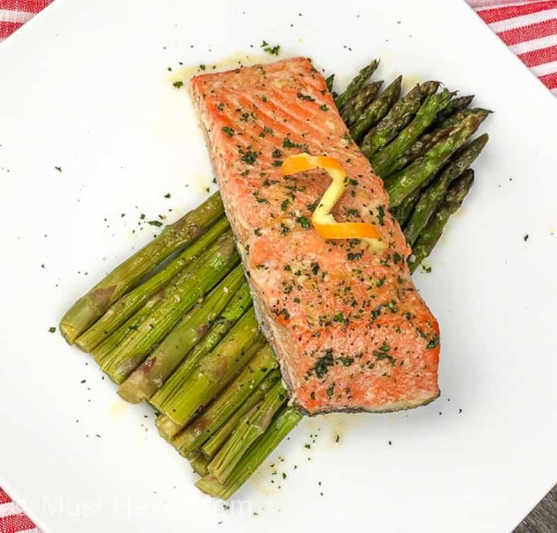orange glazed salmon and asparagus