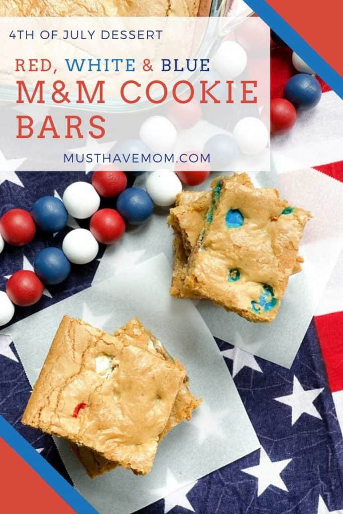 m&m cookie bar