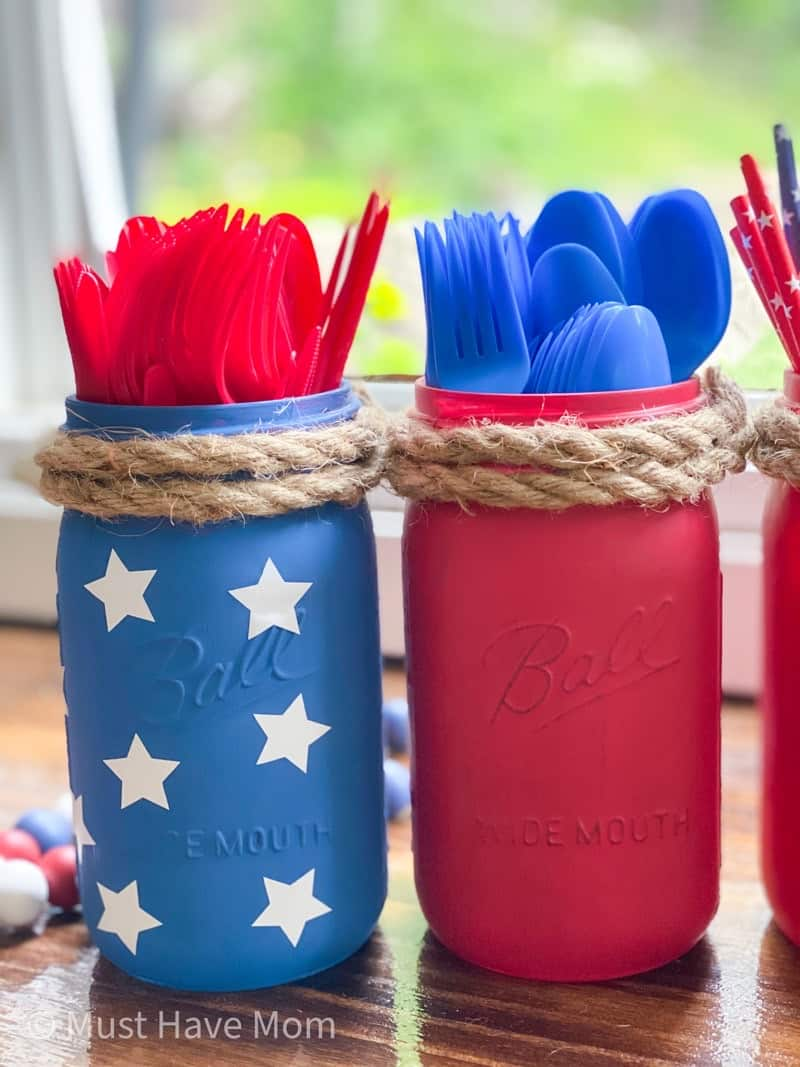 red white and blue mason jar craft