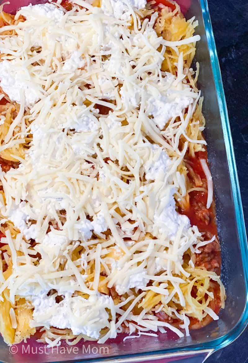 how to make spaghetti squash lasagna in a pan