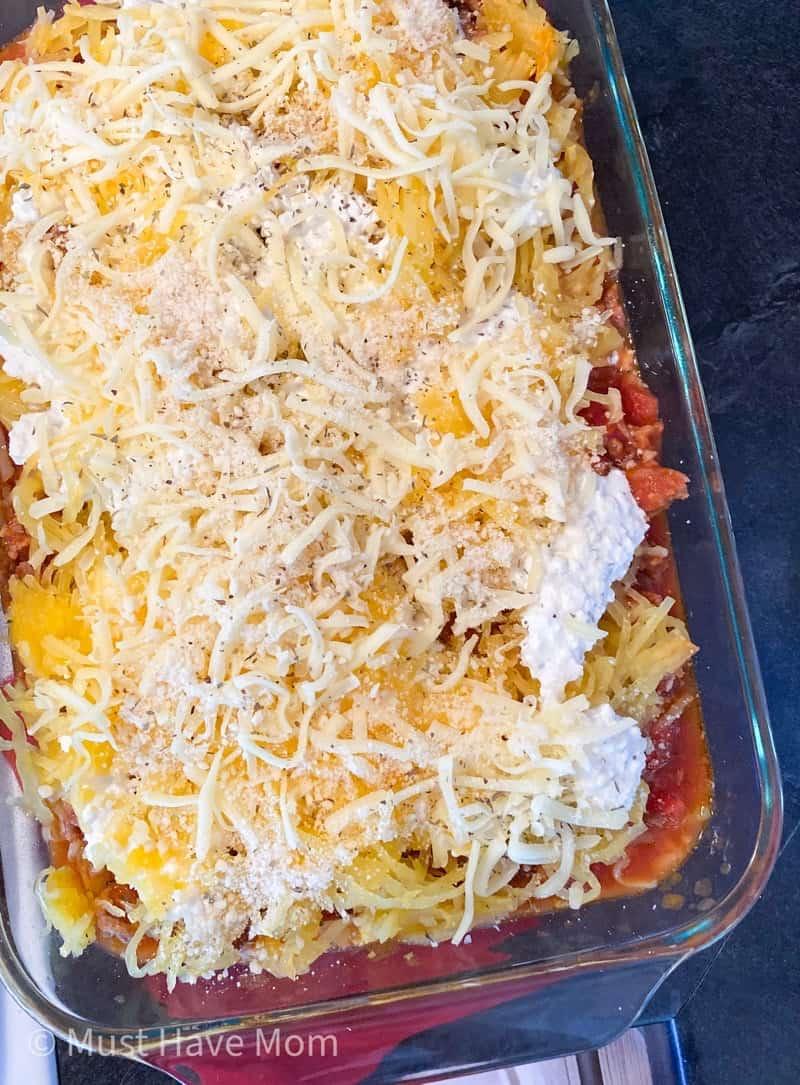 how to layer spaghetti squash lasagna