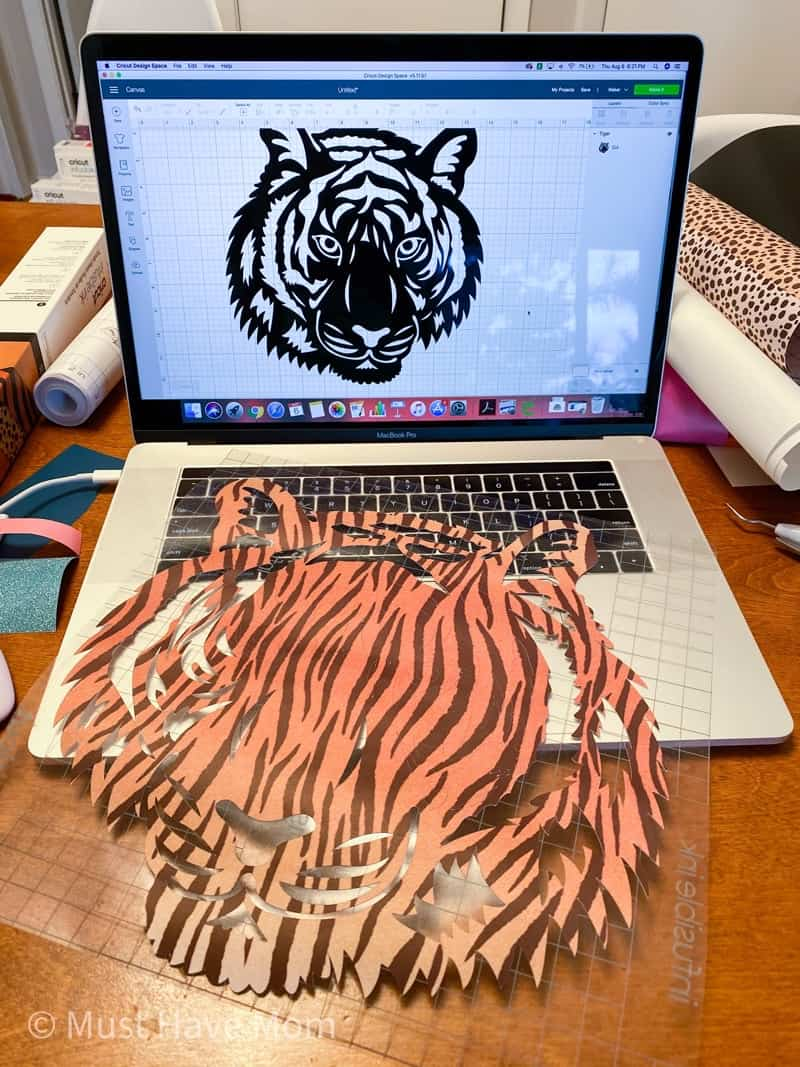 Cricut infusible ink tiger head