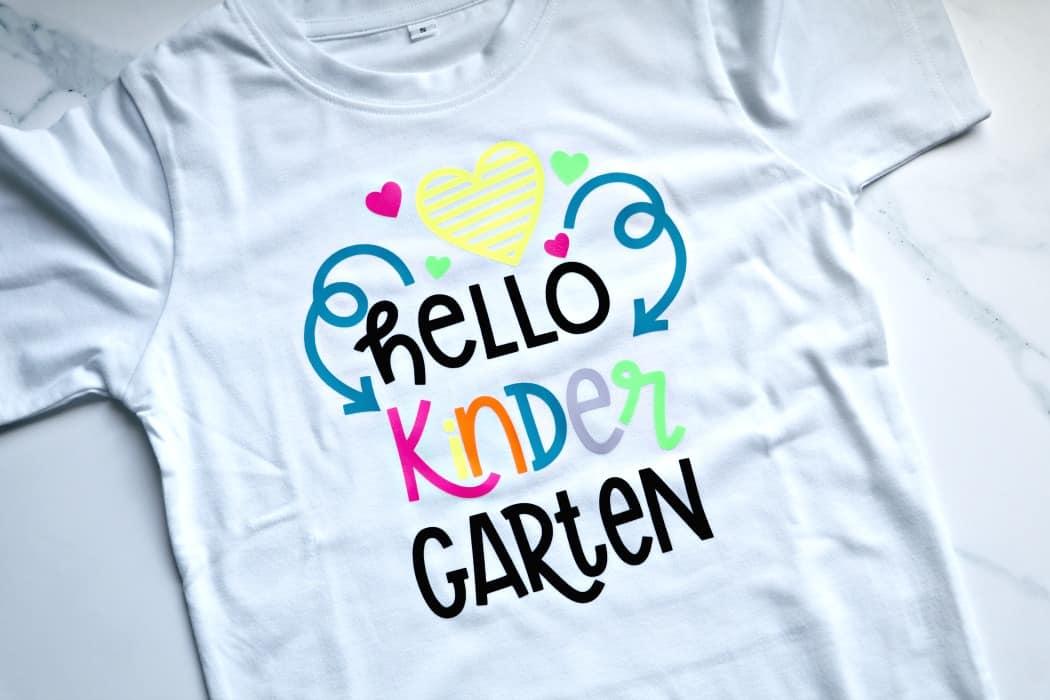 hello kindergarten t shirt diy