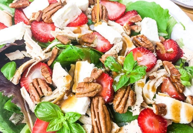 Easy Instant Pot® Chicken Salad with strawberries, feta and pecans