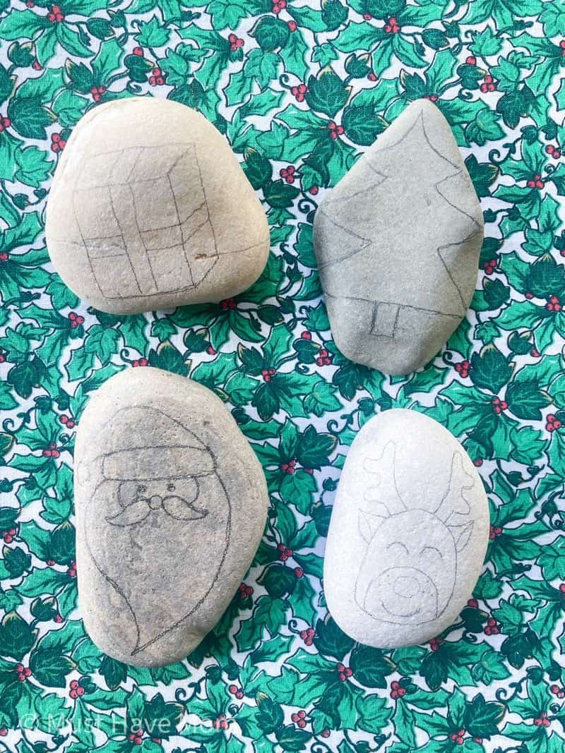 draw pencil outline on rocks