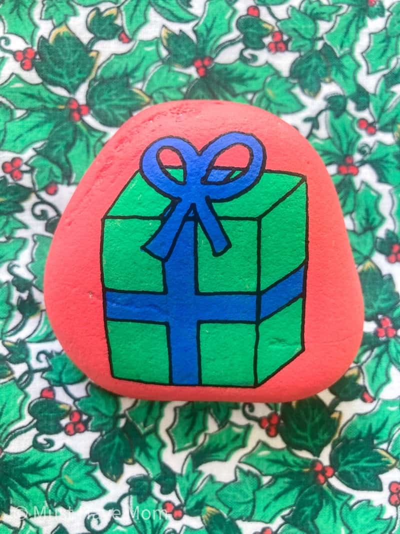 Christmas gift painted rock idea