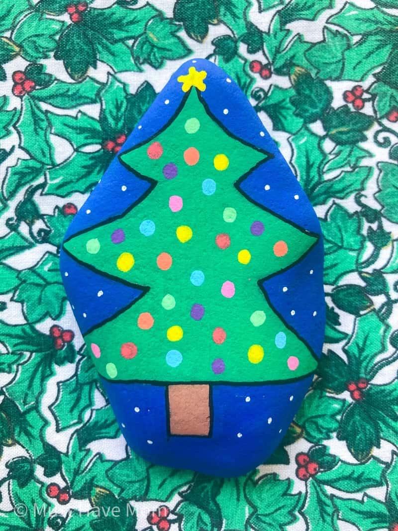Christmas tree rock painting idea