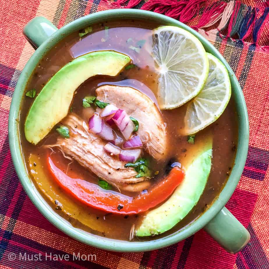 easy chicken fajita soup made in the instant pot
