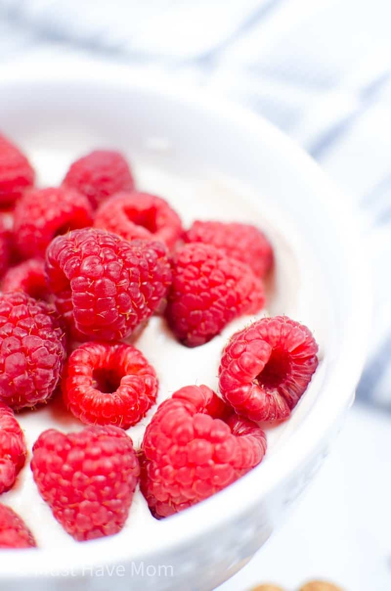 almond milk yogurt with raspberries