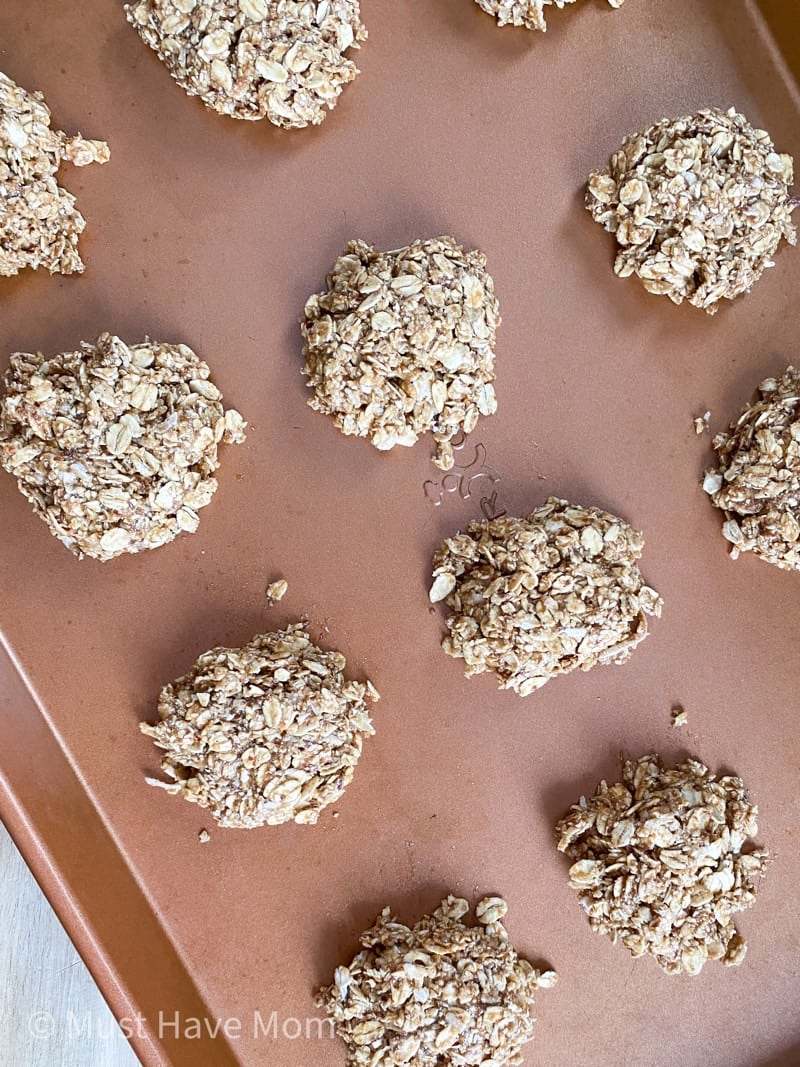lactation cookie batter scooped onto copper sheet pan