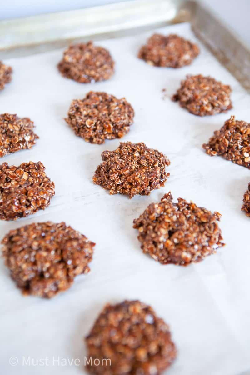 weight watchers chocolate cookies on cookie sheet