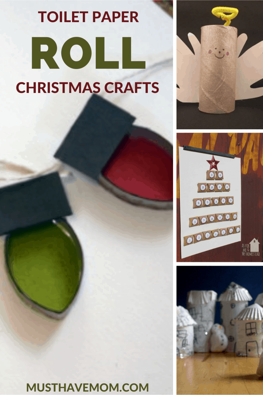 Toilet Paper Roll Christmas Crafts. These toilet paper roll Christmas crafts are the perfect way to keep kids busy without spending a fortune on supplies. #MustHaveMom #crafts #Christmas #craftsforkids #kidscrafts