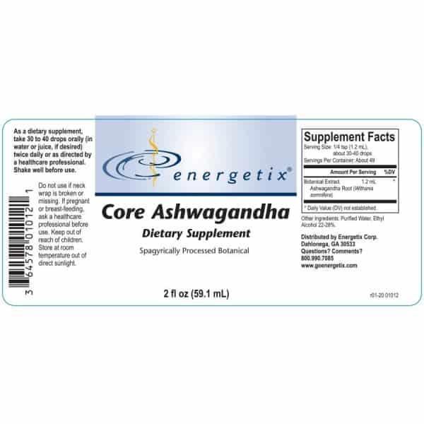 Energetix Core Ashwagandha Product Label
