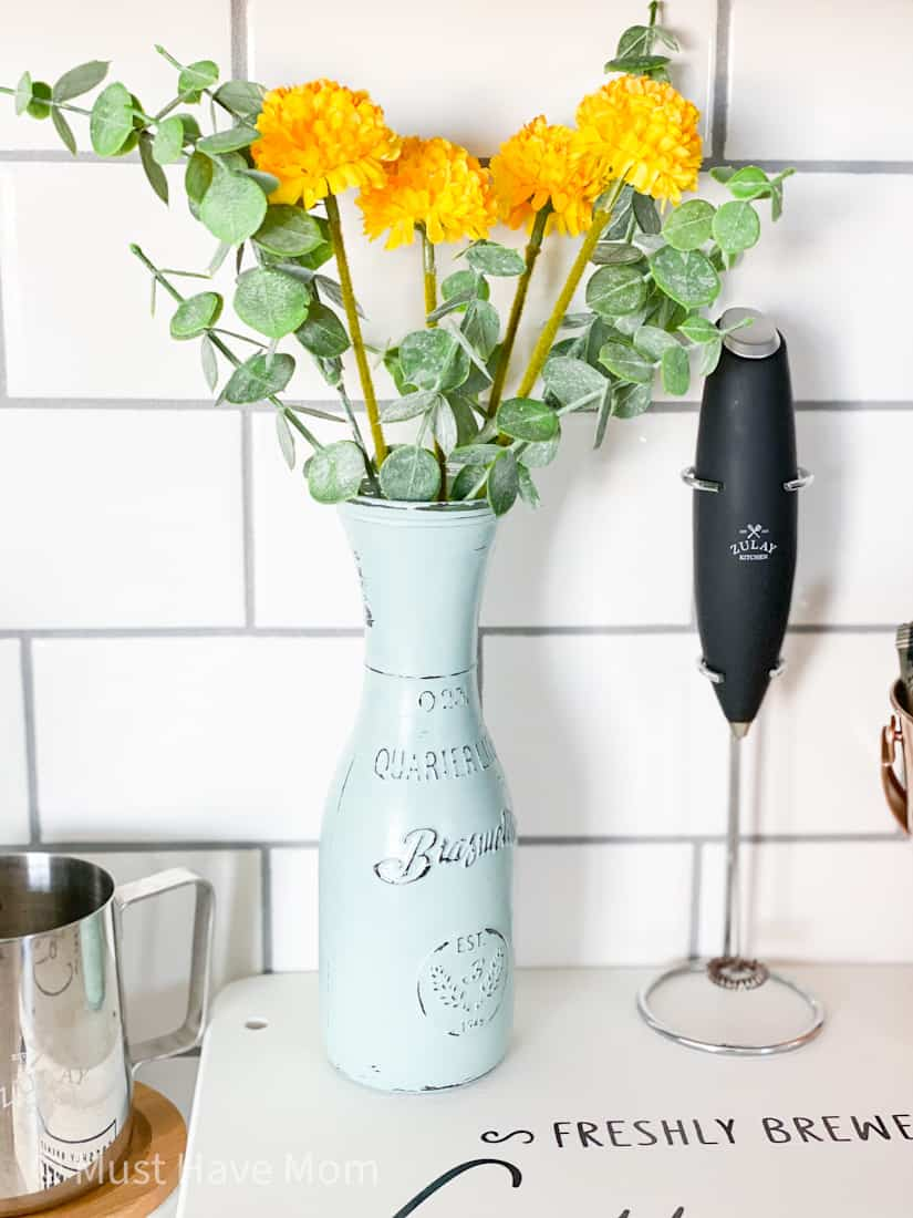 farmhouse decor chalk painted vase with fake flowers