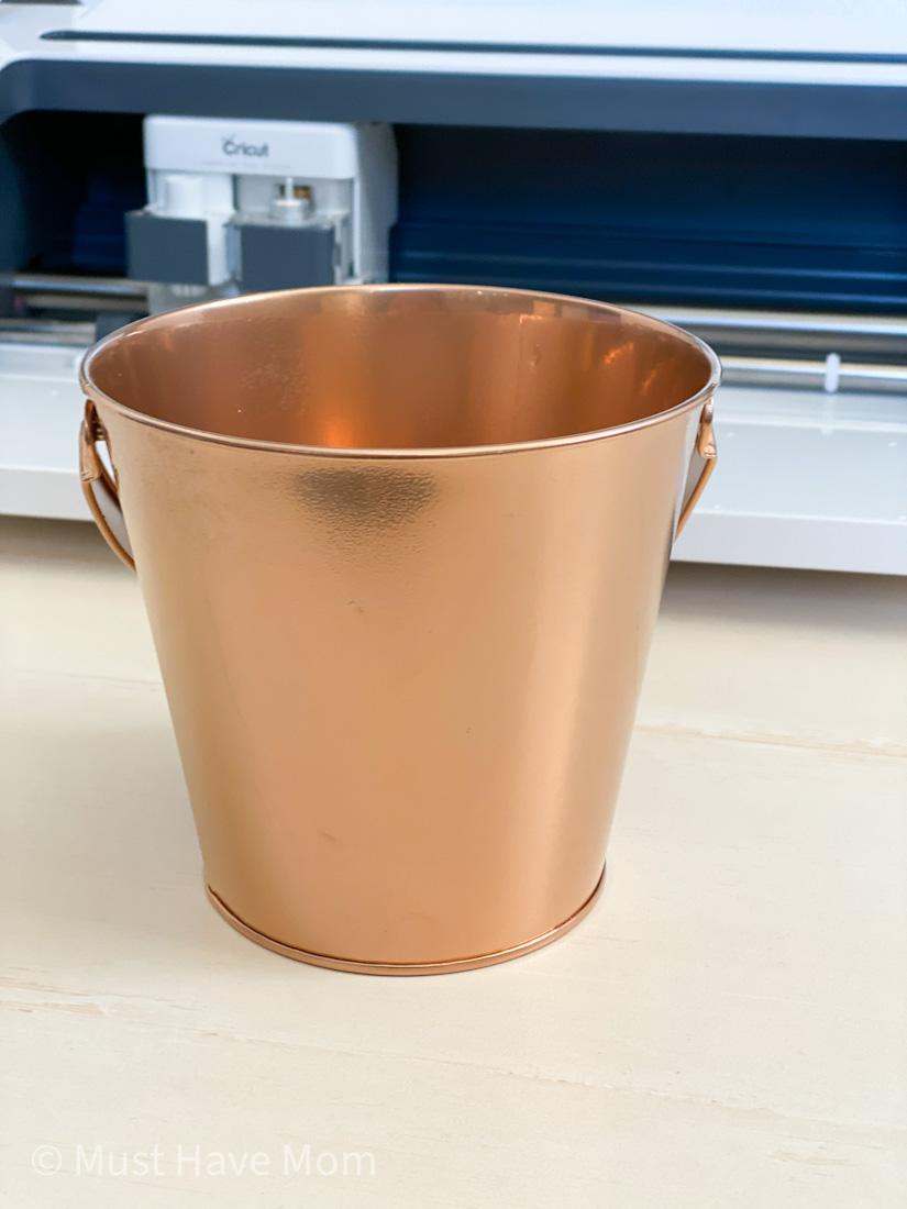 copper spray painted bucket