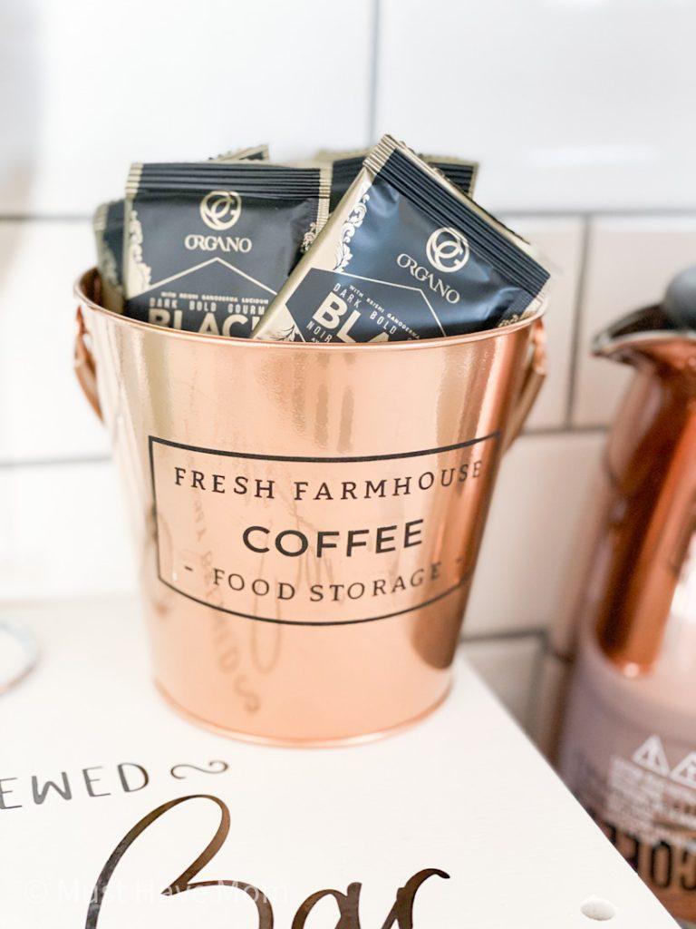 farmhouse copper bucket for coffee sachets