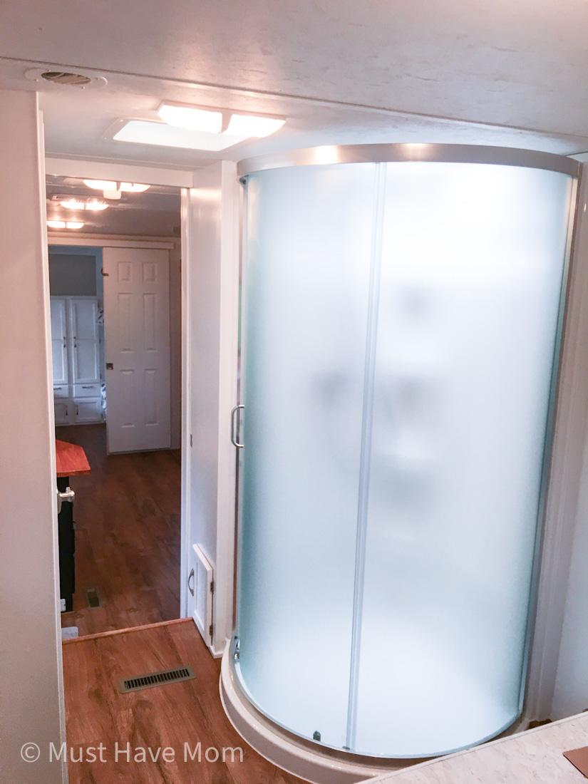 RV shower stall upgrade