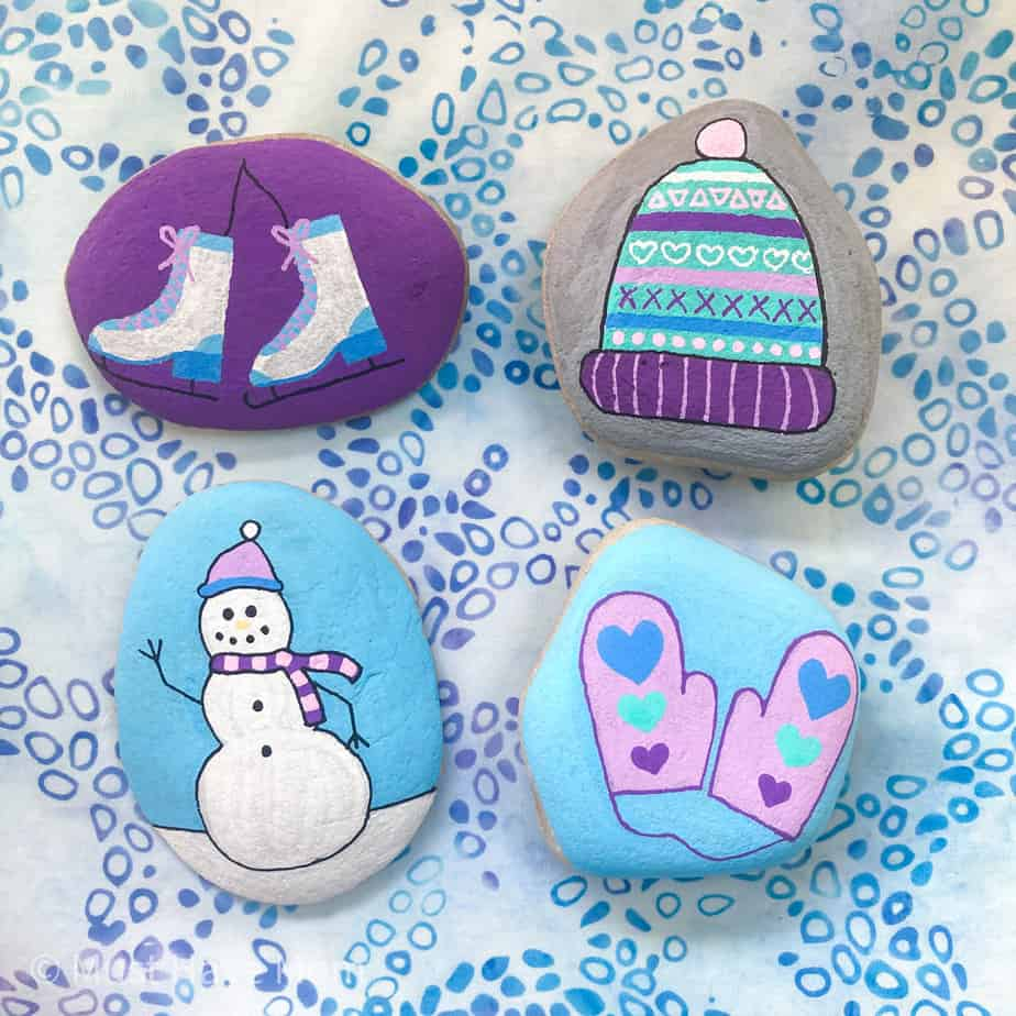easy rock painting ideas for winter