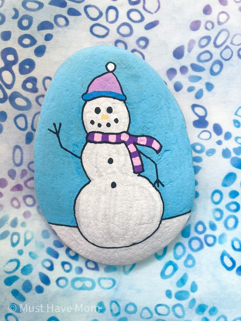 snowman rock painting idea