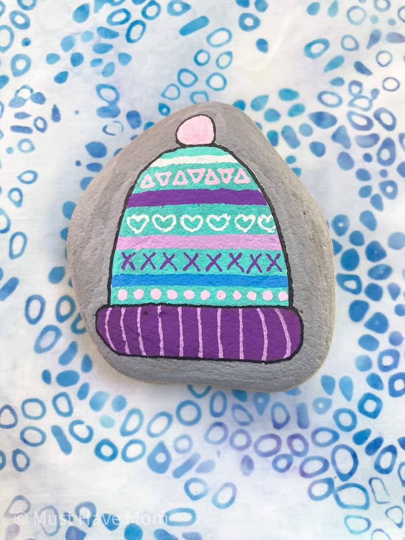 winter hat rock painting