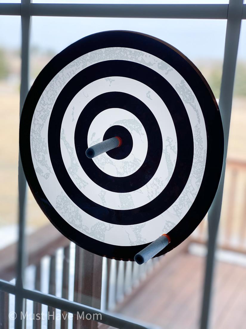 DIY window cling nerf gun target