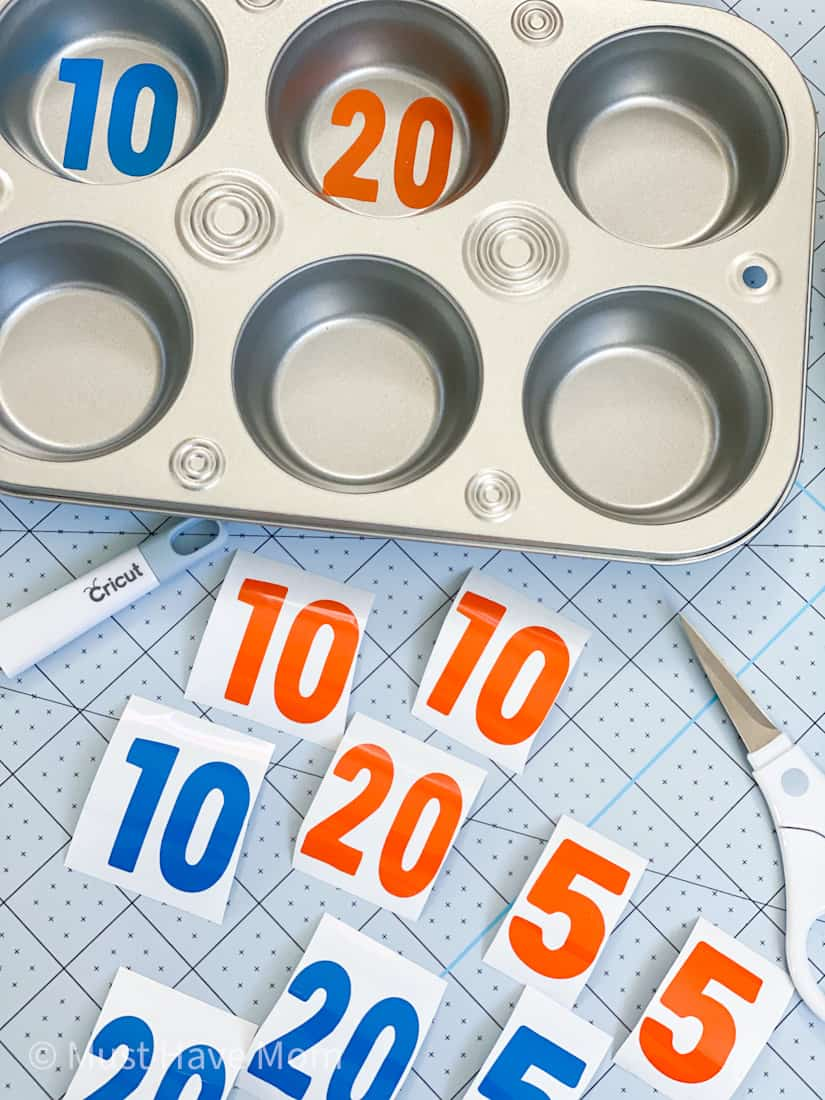 apply Nerf target numbers to muffin tin