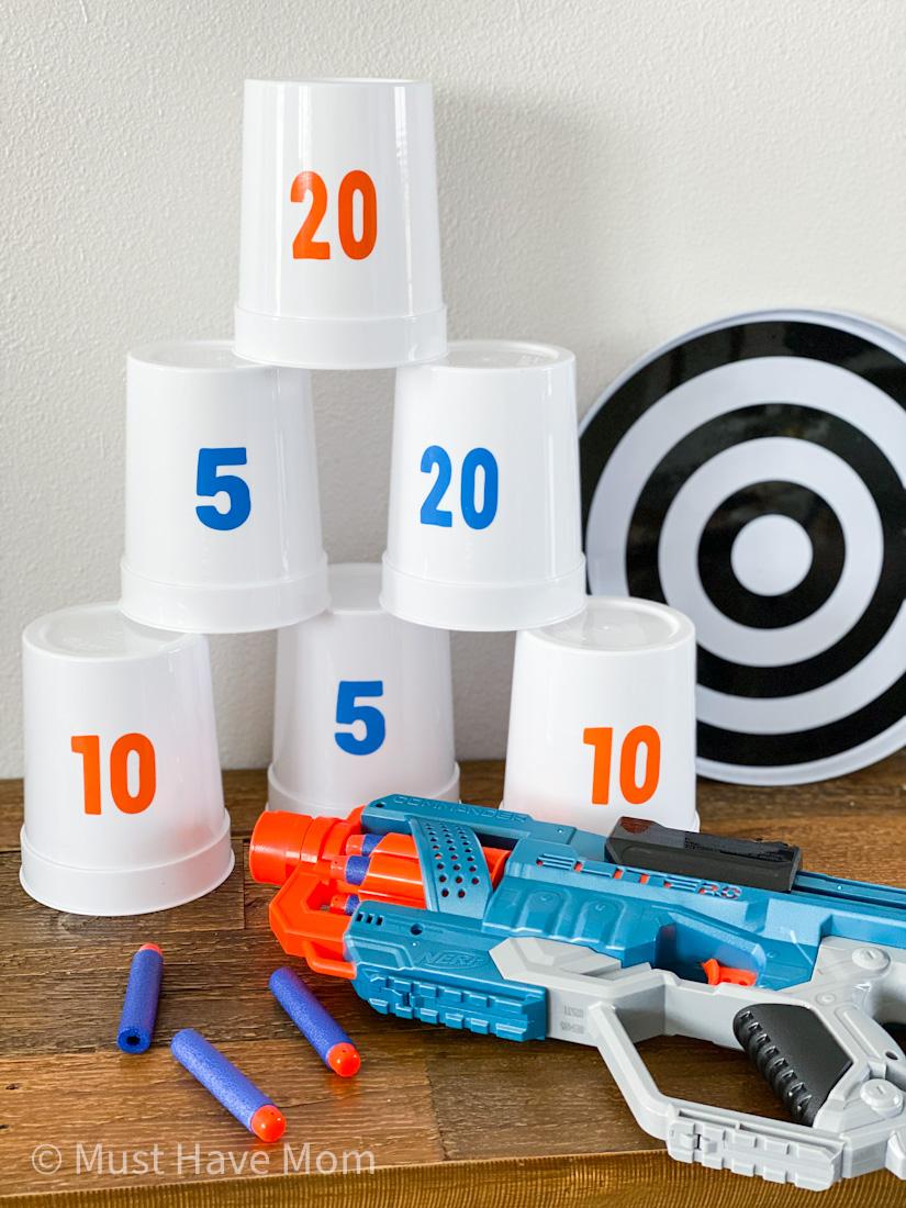 DIY plastic cup nerf target indoor activities for kids